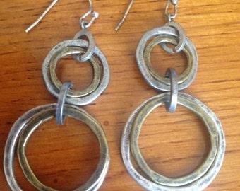 Earrings, Dangle Earrings, Vintage Jewelry, Vintage Industrial Dangle Pierced Earrings