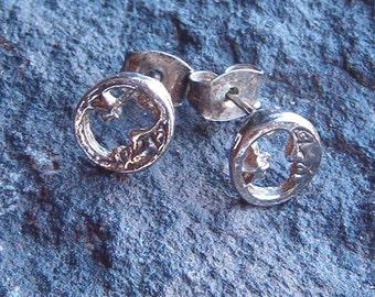 Earrings, Vintage Sterling Silver Moon and Star Earrings