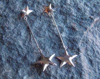 Vintage 80s Star Dangle Earrings