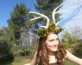 Antler, Antler headdress, Rose, Rose Crown, Flower crown, Antler headband, Ren Faire, green, Green rose, Burning Man