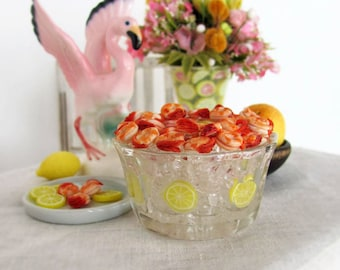 Miniature SHRIMP Buffet Bowl - Shrimp on Ice with Cocktail Sauce & Fresh Lemon  -  1:6 Scale Polymer Clay Food for Fashion Dolls and Figures