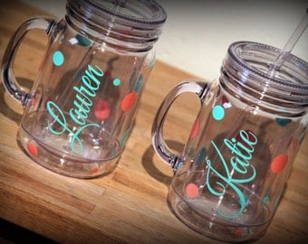 9-Polka Dot Savannah Mason Jar Tumblers- Set of 9 - Great gift for the bridesmaids, bachelorette parties, showers, friends, kids & teachers!