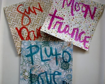 3 Mini Posters Planets - 6x6, Sun, Moon, Pluto, Brush Lettering, Hand Lettering