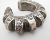 Antique Silver Bedouin Bracelet hollow form vintage cuff Nomadic Tribe Tribal Jewelry