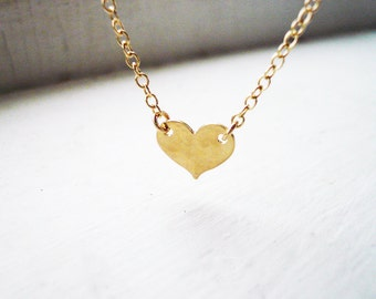 Tiny Gold Heart Necklace in Gold Filled - Sweet and Simple Hammered 14K Gold Filled Heart Necklace, Perfect Valentines Day Gift