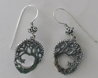 Sterling Silver TREE OF LIFE Earrings - Celtic