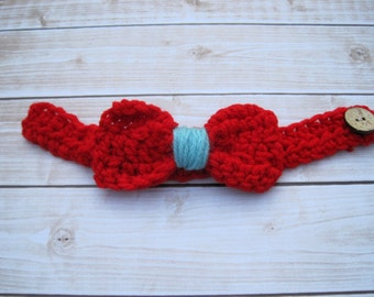 Baby Boy Bow Tie, Baby Photo Prop, Boy Newborn Bow Tie, Crochet Baby Bowtie, Infant Bow Tie, Little Man Bow Tie, Blue, Homecoming