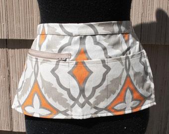 Vendor Apron Server Apron Cash Apron Travel Apron Zipper Beige Orange Cotton Twill