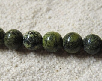 Forest Green Jasper Round Gemstone Beads 10mm 19 Beads Per 8 Inch Strand