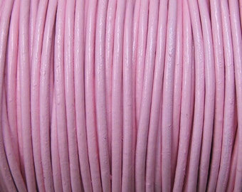 1mm Light Pink Round Leather Cord 2 yards for Wrap Bracelets Macrame Knotting Jewelry