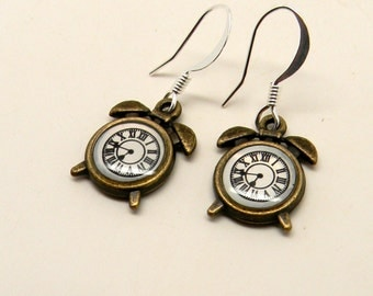 Alarm clock earrings. Steampunk earrings.