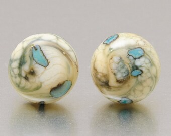 Stud earrings - Silvered pebbles - lampwork glass by Jennie Yip