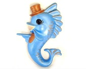 vintage BLUE FISH in top hat retro chalkware wall hanging