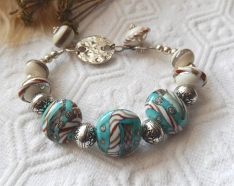 SALE......One of a Kind Sterling Silver and Lampwork Glass Bracelet