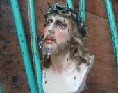 Vintage St. Cristo De Limpias Bust Jesus Christ Chalkware