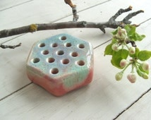 Vintage American Pottery Hexagon Flower Frog Drip Glaze Aqua and Pink Ceramic