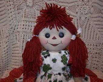 Handcrafted Primitive Folk Art Joslyn Annie St. Paddy's Day Raggedy Doll 3