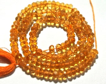 14 Inches Natural Citrine Micro Faceted Rondelles 3.5 -4mm approx, Citrine Faceted Roundels