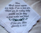Mother of the Bride Personalized Embroidered Wedding Handkerchief,Parent Gift