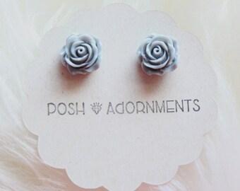 Grey Rose Floral Stud Earrings