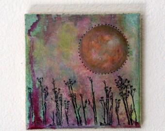 field of dreams mixed media painting art by tremundo, new home apartment art gift under 50 - tremundo