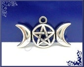 4 Triple Moon Goddess Pendants - Pentagram Pendants - Wicca Charms Antiqued Silver 29mm PS44