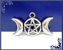 4 Triple Moon Goddess Pendants - Pentagram Pendants - Wicca Charms Antiqued Silver 29mm PS44