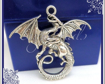 3 Larger Sized Antiqued Silver Dragon Pendants 45mm PS91