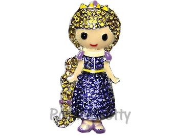 NEW 1.25 inches ONE Character Sparkle Flat back Center - BLINGED Rapunzel