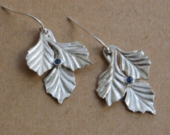 Three Leaf Silver and Sapphire Earrings