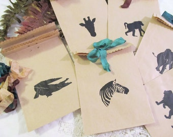 Safari Jungle Zoo Wild Animal Party Favor Bags - Set of 10 - Choose Ribbons - Jungle Zoo Wild Animal Safari Birthday Party