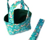 Fanciful Fun Gift Set Twirly Tuft Birdies on Blue Teeny Tote Bag with Coordinating Headband