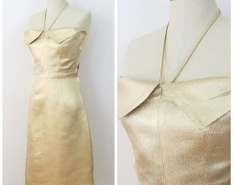 50s Del Mar Gold Lame Strapless Wiggle Dress, VLV Showstopper, Size XS