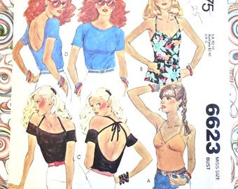 Vintage 1970s Womens Tops or Blouses Pattern - McCalls 6623