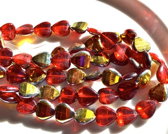 Bright Red and Gold 12mm Valentine Heart Premium Czech Beads 10