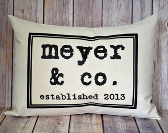 Personalized Family pillow, Cotton anniversary gift,  Name Personalized Pillow, 2nd Anniversary,  Date pillow,  Family gift,