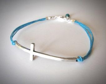 Sideways Cross Bracelet Christian Bracelet on Linen Sterling Cross