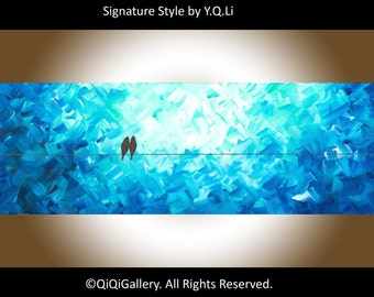 """Valentines Sale, Oil painting, canvas art, original art, abstract art, canvas painting original painting """"The Magic Night"""" by qiqigallery"""