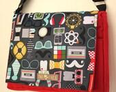 Red GEEK CHIC Print MESSENGER Book Laptop Diaper Bag