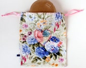 Cotton Fabric Gift Wrap - Drawstring Bag with Floral Applique Heart, Lingerie Travel Bag, Storage and Organizing Fabric Bag   Ready to Ship