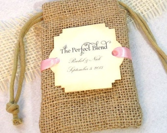 Burlap favor bags - Personalized - The Perfect Blend - Coffee Favor Bags - Set of 20