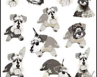 Schnauzers Set 1 - Schnauzer Dog Graphics - 11 full color images of 8 poses and 3 faces {Instant Download}