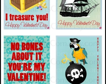 Valentines Day Cards Pirate Set 2 BOY  - kids class exchange cards DIY Printing - 10 pages treasure chest parrot Jpg & Pdf{Instant Download}