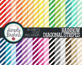Rainbow Diagonal Stripes Paper Pack Colorful Pattern Digital Paper Personal & Commercial Use INSTANT DOWNLOAD