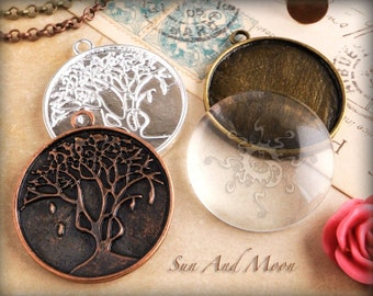 10 Pendant Trays with GLASS inserts - 30mm Circle Pendant Blanks - Tree of Life Pendant Setting - Pendant Tray Wholesale