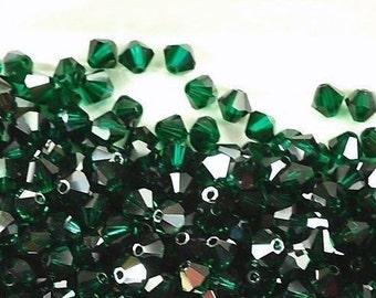 Vintage Swarovski Emerald Satin 5mm Faceted Crystal Bicone Beads (18)