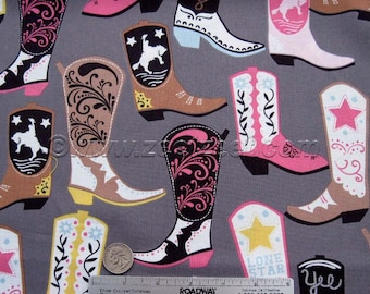 COWGIRL BOOTS Grey Pink Cotton Quilt Fabric by the Yard, Half Yard, Fat Quarter - Blend Fabrics Maude Asbury Lucky Square Dance Boot