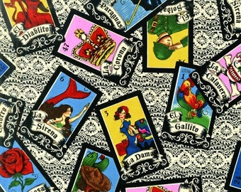 LOTERIA Fabric - Rober Kaufman Fabrics Als-12756-84 CREAM - by the Yard or Half Yard Mexican LOTTERY Game