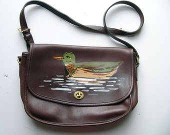 Hand painted duck purse