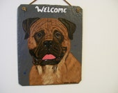 Bull Mastiff Welcome Slate